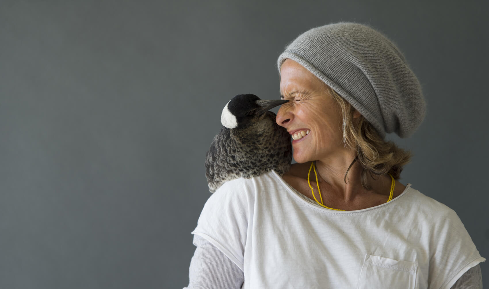 Sam Bloom with Penguin on her shoulder