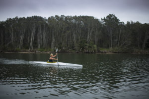Sam Bloom paddling