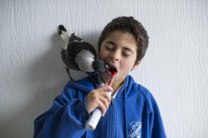 Penguin Bloom helping Ollie brush his teeth