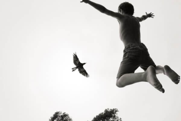 Reuben Bloom and Penguin Bloom flying