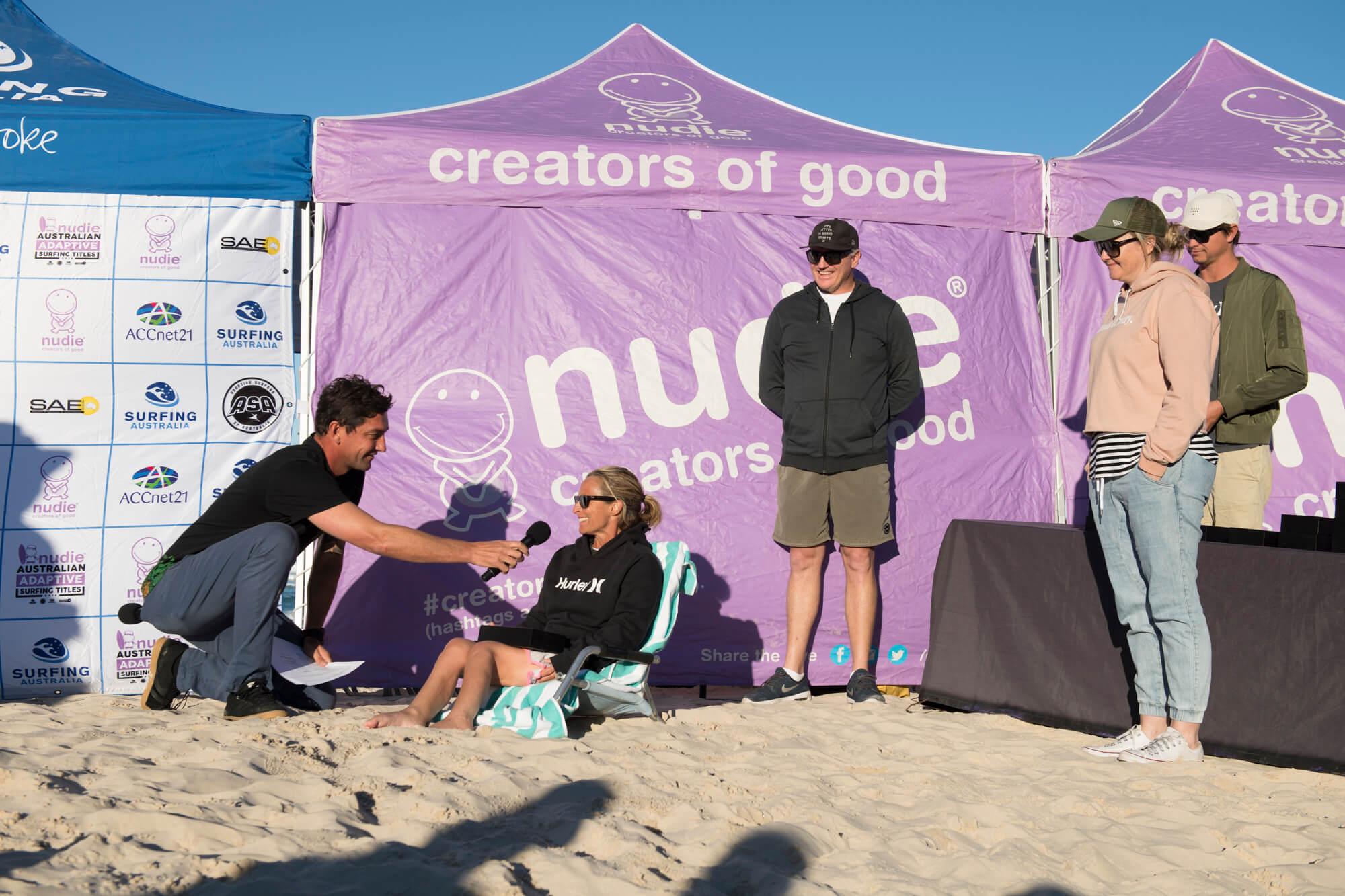Sam being interviewed after Surfing Australia event